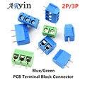 10 PCS KF301- 2P 3P screw 5.0mm terminal block 2 Pin 3 Pin PCB Terminal Block Connector Blue Green