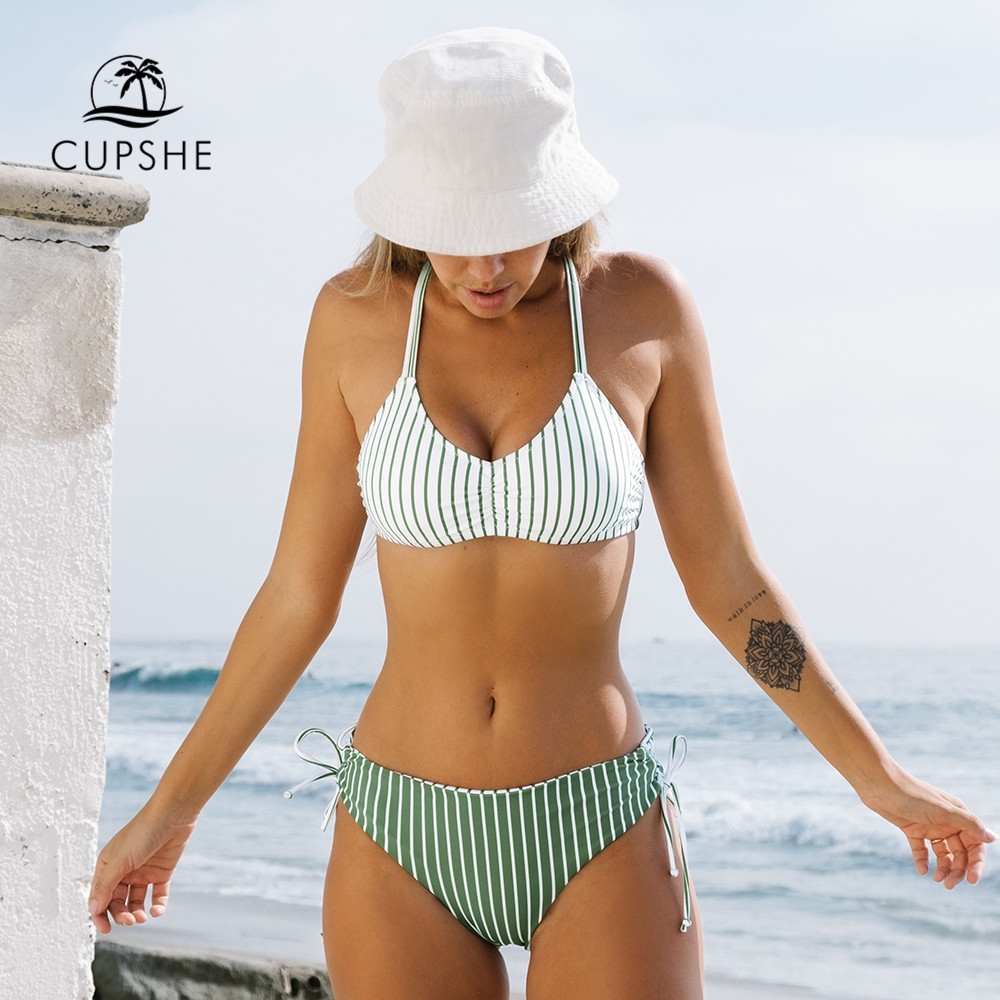 Ultimate SaleCUPSHE Swimsuit Bikini-Sets Bathing-Suits Bottom Strappy Reversible Two-Pieces Sexy White