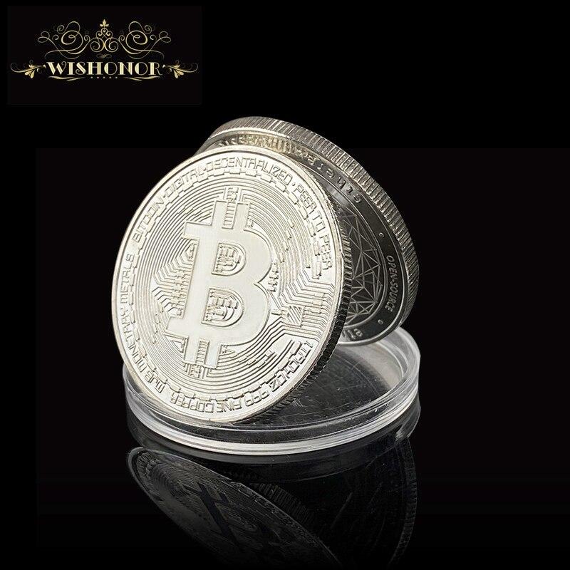 Биткоин, эфириум, тире, литекоин, пульсация, крипли, монета EOS, металлическая памятная монета Биткоин с серебряным покрытием