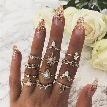 15 Pcs/set Women Fashion Rings Hearts Fatima Hands Virgin Mary Cross Leaf Hollow Geometric Crystal Ring Set Wedding Jewelry 42