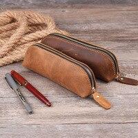 Creative gift of hand-made Vintage top-grade leather pen pencil case zippered pen bag pen pouch pen holder organizer