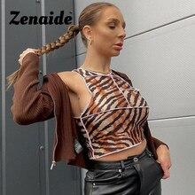 Zenaide alta pescoço ponto colheita topo tigre impresso streetwear sem mangas curto verão mulheres magras sexy regatas