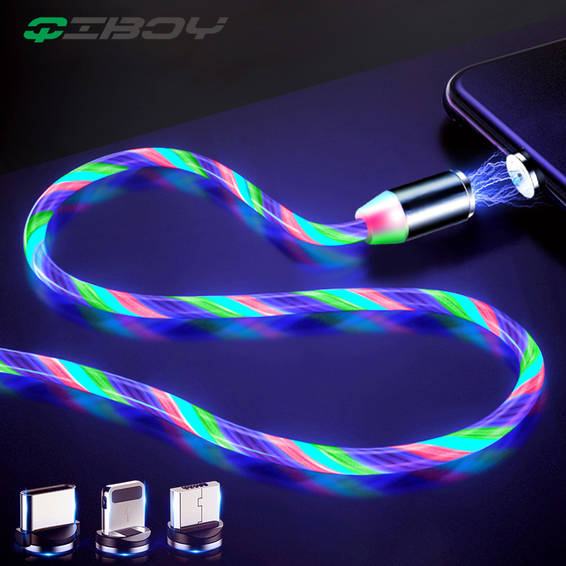 Magnetic Cable LED Flow Glow Micro USB Type C Lighting Charger For iPhone Samsung Fast