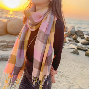 Женский шарф в клетку в Корейском стиле, осенне-зимний кашемировый теплый шарф в клетку, модные корейские товары