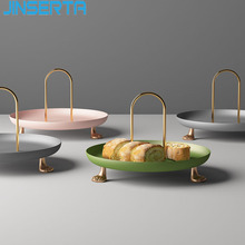 Display-Plate Metal Tray Handle Jewelry Dessert Cake Desktop-Decor Fruit Luxury