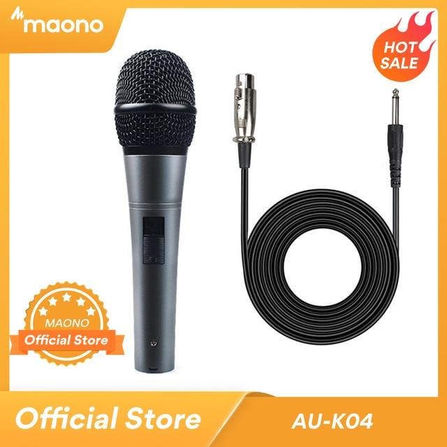 MAONO K04 Professionale Microfono Dinamico Cardioide Vocal Wired MICROFONO Con Cavo XLR Plug And Play Microfone per la Fase Karaoke KTV