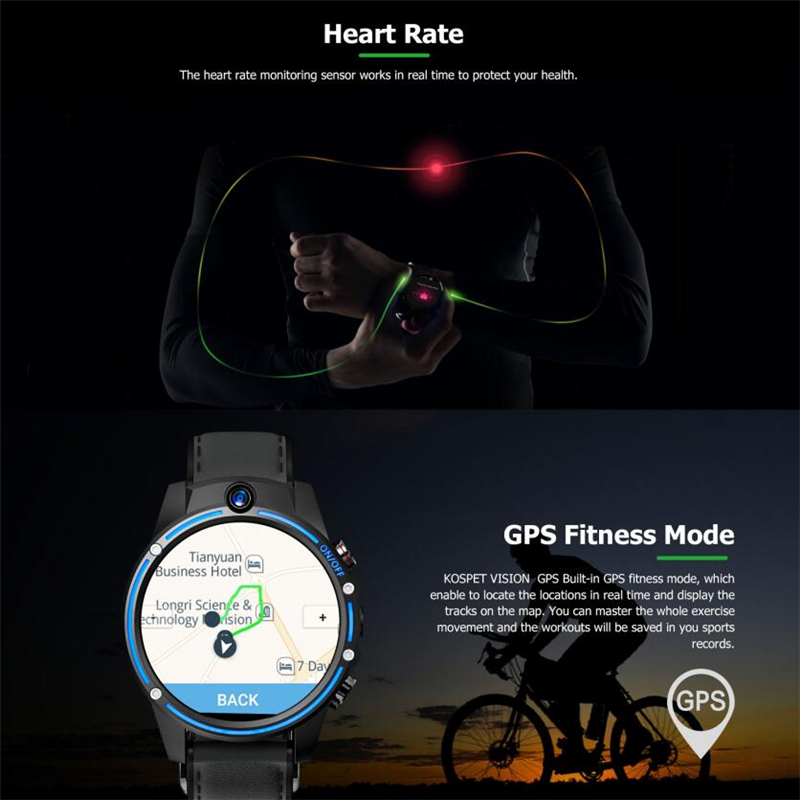 KOSPET Vision 3 ГБ 32 ГБ 5.0MP двойная камера GPS Спорт Android Смарт часы 1,6 800 мАч Bluetooth Smartwatch для мужчин для IOS Android - 2