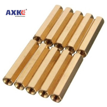 10/50pc Solid Brass Copper M2 M2.5 M3 M4 Hex Standoff Hexagon Pillar M-F F-F Male-Female Female Spacer for PCB Board Motherboard 260pcs m2 pcb threaded brass male female standoff spacer board hex screws nut assortment box kit set with plastic box hollow