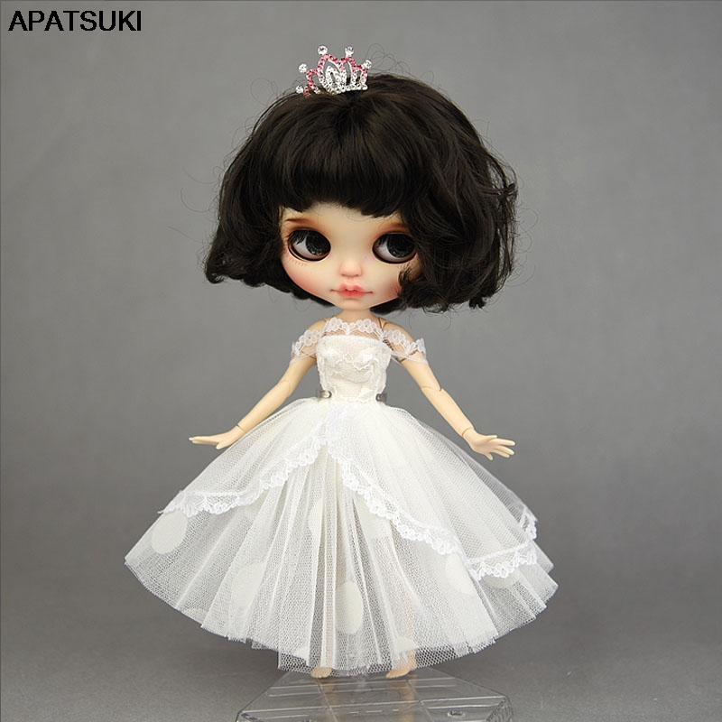 White Lace Handmade Short Tutu Dress For Blythe Doll Outfits Princess Evening Party Gown Skirt Bridal Dresses Doll Accessories(China)