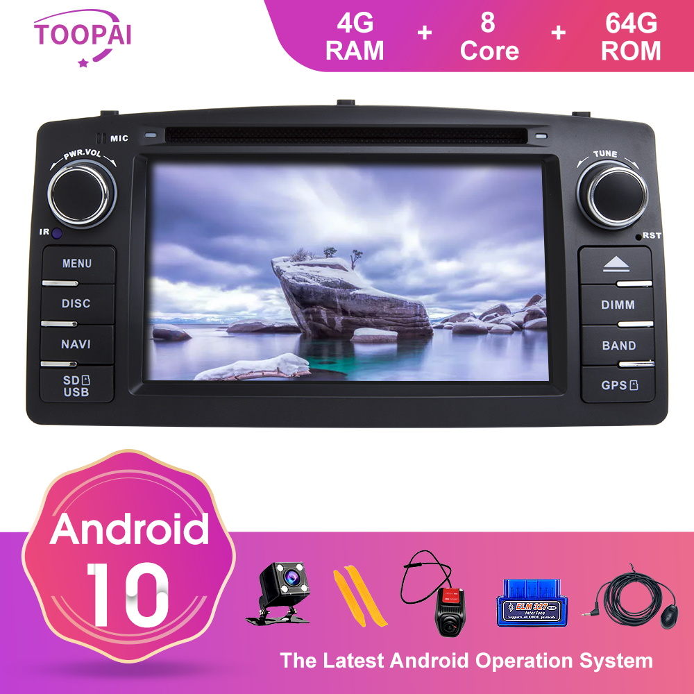 TOOPAI Android 10 For Toyota <font><b>Corolla</b></font> <font><b>E120</b></font> Altis <font><b>E120</b></font> 2000-2006 BYD F3 Car Multimedia Navigation GPS Media Player Auto Radio image