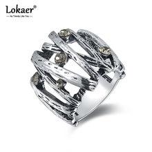 Lokaer-Anillo de boda con diamantes de imitación para mujer, sortija Vintage, Color negro y plateado, mosaico, gris, a la moda, Anneau, R15014