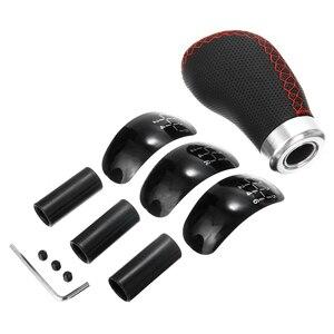 Image 3 - 새로운 도착 5 6 속도 유니버설 시프트 노브 세트 정품 PU 가죽 수동 자동차 기어 헤드 스틱 쉬프터
