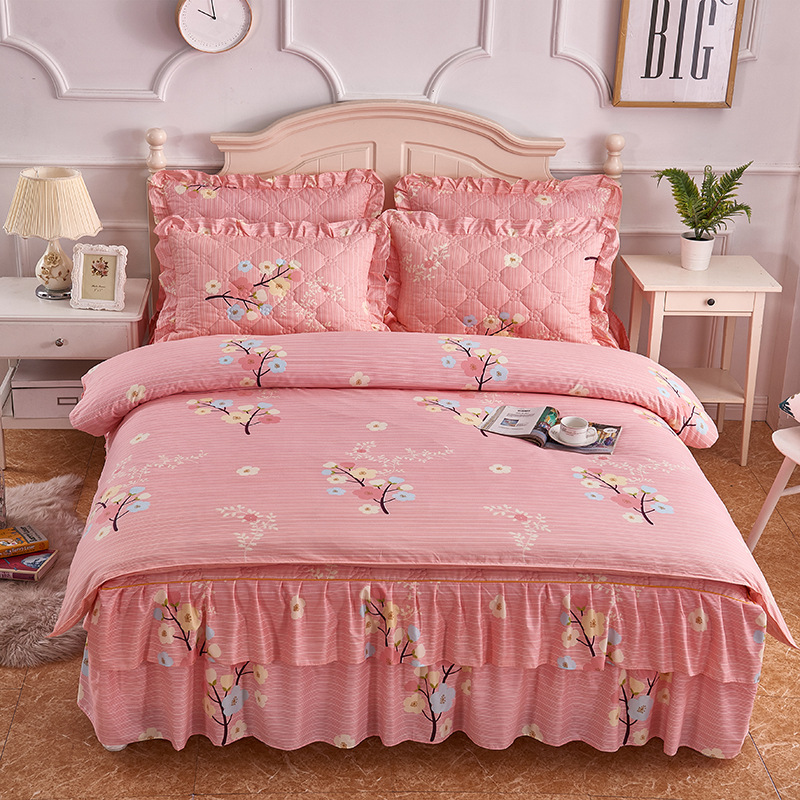 Autumn And Winter Thick Brushed Double Layer Lace Padded Four-piece Of Bed Skirt Plus Cotton Bedspread Pillow Case Quilt Cover T