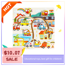 Montessori Wooden Sliding Puzzle Maze Educational Toys Cars Early Learning Intelligence Kids educational