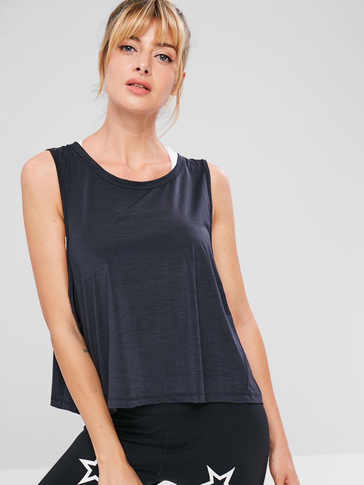 ZAFUL Running Tank Top Summer Sexy Women Back Split Exercise Tie T Shirts Sleeveless Sports Tank Top Female Athletic Tee Camis in Tank Tops from Women 39 s Clothing