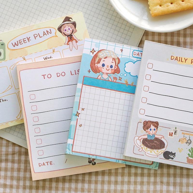 50 Pcs/set Kawaii Memo Pad Cute Cartoon Timetable To Do List Kawaii Memo Paper Office School Supplies Stationary Memo Pad