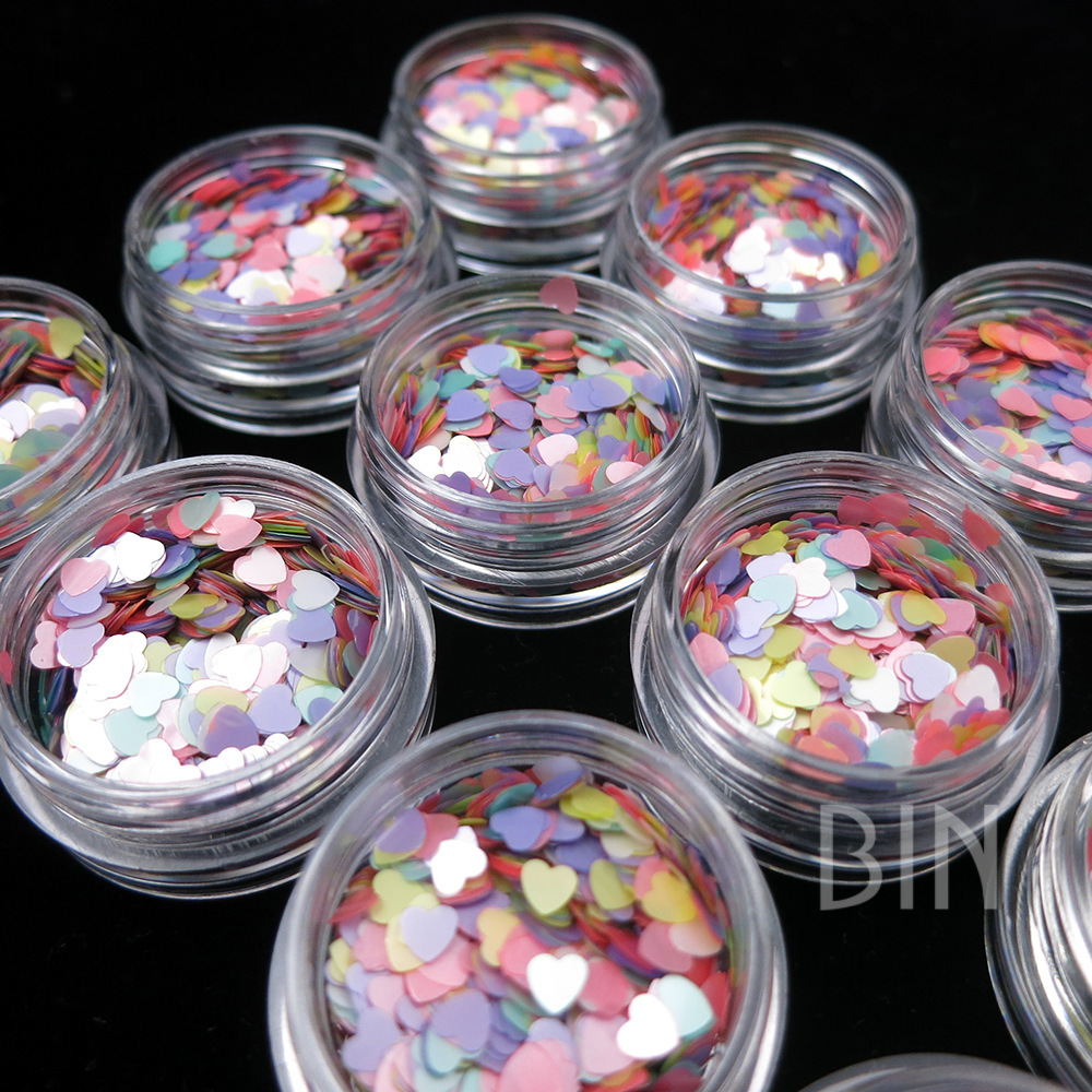 New Style Nail Ornament Symphony Heart Shape Sequin Ultra-Thin Color Mixture Nail Sticker Color 5G Set Shimmering Powder Sequin