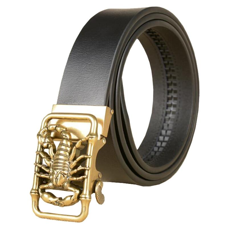 Western Scorpion Design  Auto Buckle Black Coffee Leather Men Belt Vintage Sliver Gold Jeans Causal Pants