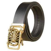 Western Scorpion Design  Auto Buckle Black Coffee Leather Men Belt Vintage Sliver Gold Belt Buckle Jeans Causal Pants Men Belt fashionable crocodile and letter z shape inlay design auto buckle belt for men