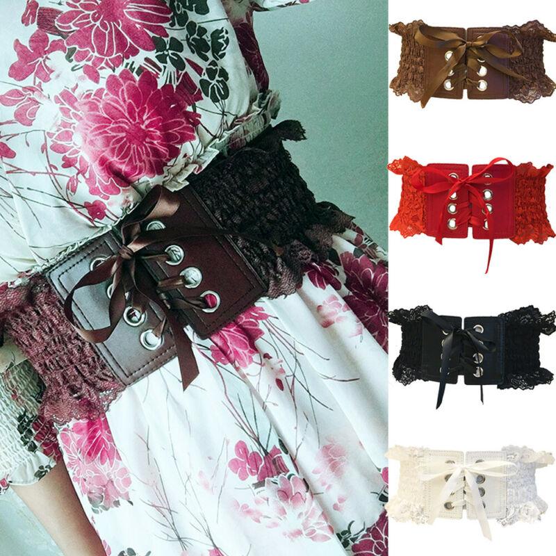 Women Vintage PU Cummerbunds Belt Waist Cincher Lace Up Corset High Stretchy Wide Waistband