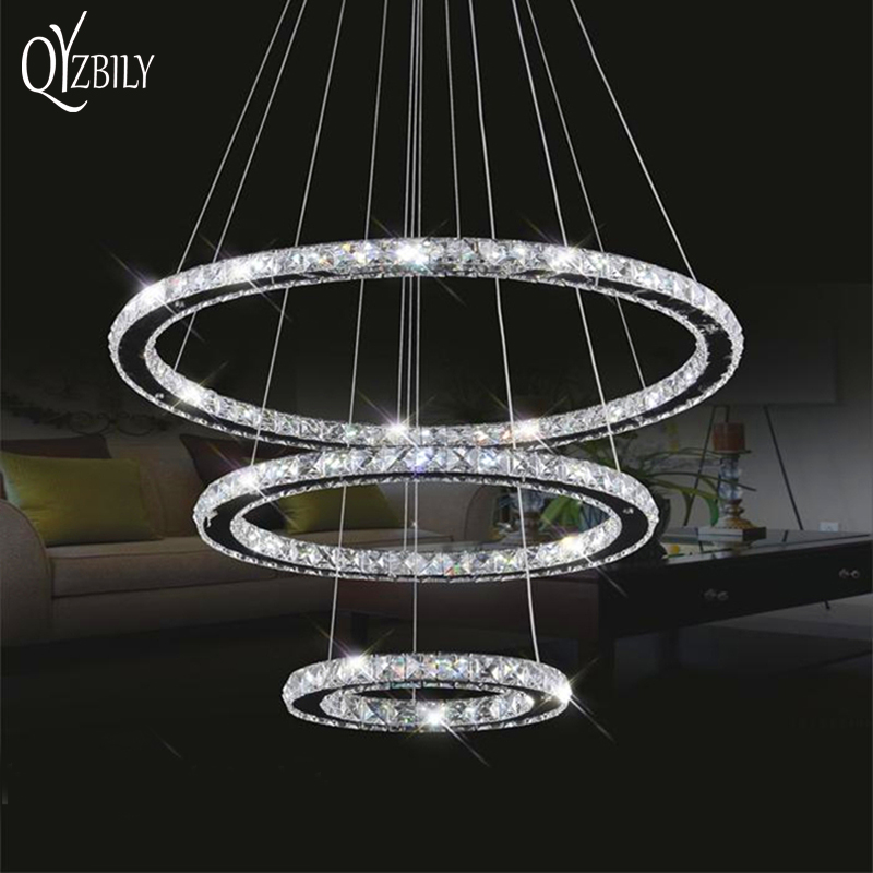 Led Crystal Chandelier Lighting Lamp Lustre Ring Light Pendant Lamparas Colgantes Abajur Luminaire Modern Ceiling Fixtures Lampe
