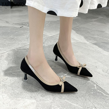Fashion Flock High Heels Thin Heels Pointed Toe Butterfly-Knot Single Shoes 2020 Spring Autumn Women Shoes Party Dress Pumps