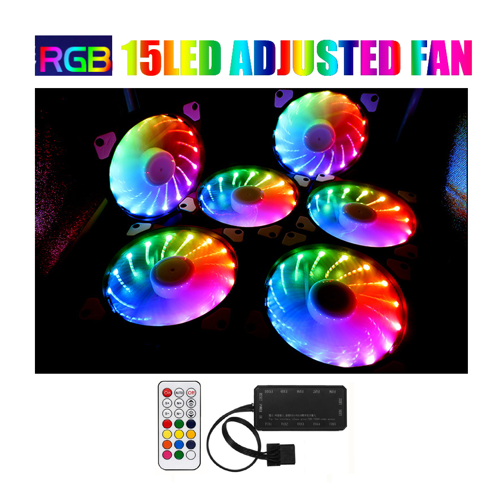 RGB Fan Set Adjusted 15LED 120mm Computer Case PC Cooling Fan Quiet  Remote Fan Computer Cooler Cooling 12cmRGB Game Case Fan