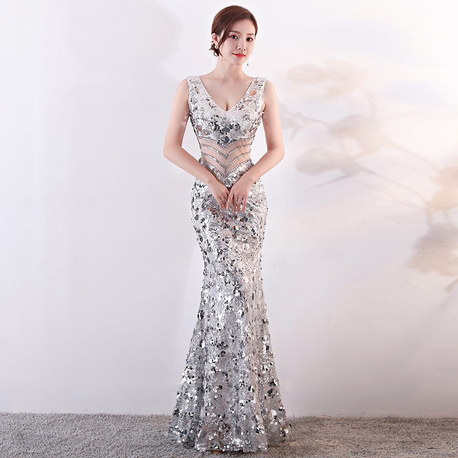 Evening     Dress   Tank Floor Length Robe De Soiree Sequined Backless Women Party   Dresses   2019 V-Neck Sleeveless Formal Gown F238-2