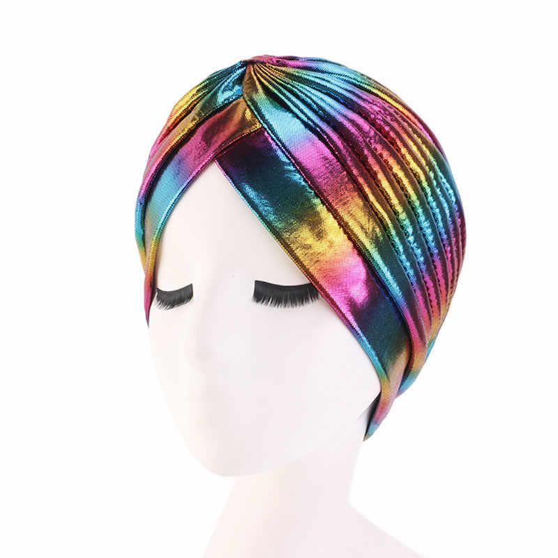 Яркий красочный тюрбан для женщин с оборками мусульманский тюрбант головной платок Кепка chemo волосы свободный головной платок
