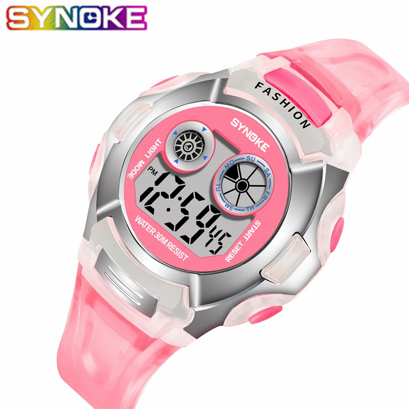 SYNOKE Children Colorful LED Digital Watches Sports Waterproof Kids Wrist Watch Fashion Multi Function Students Digital Watches