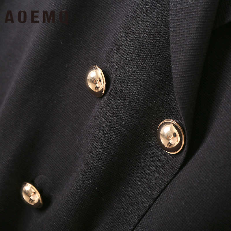 AOEMQ Mode Frauen Weste Sleeveless Moderne Büro Dame Lange Westen mit Gold Farbe Taste Strickjacke Vestes Frauen Kleidung
