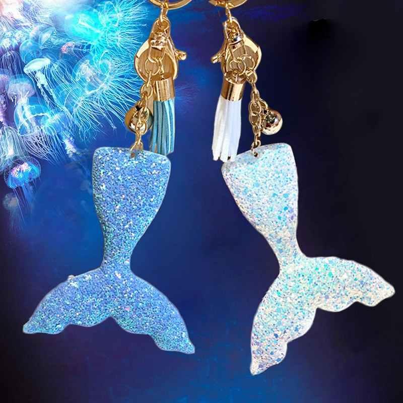 Fish Mermaid Car Sleutelhouder Sleutelhanger Vrouwen Tas Lederen Tessal Hanger Sleutelhanger Sieraden Gift
