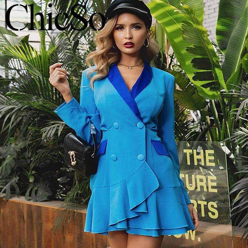 MissyChilli Long Sleeve Blue Ruffle Blazer Dress Women Elegant Bodycon Fashion Short Dress Autumn Winter Sexy Office Lady Dress