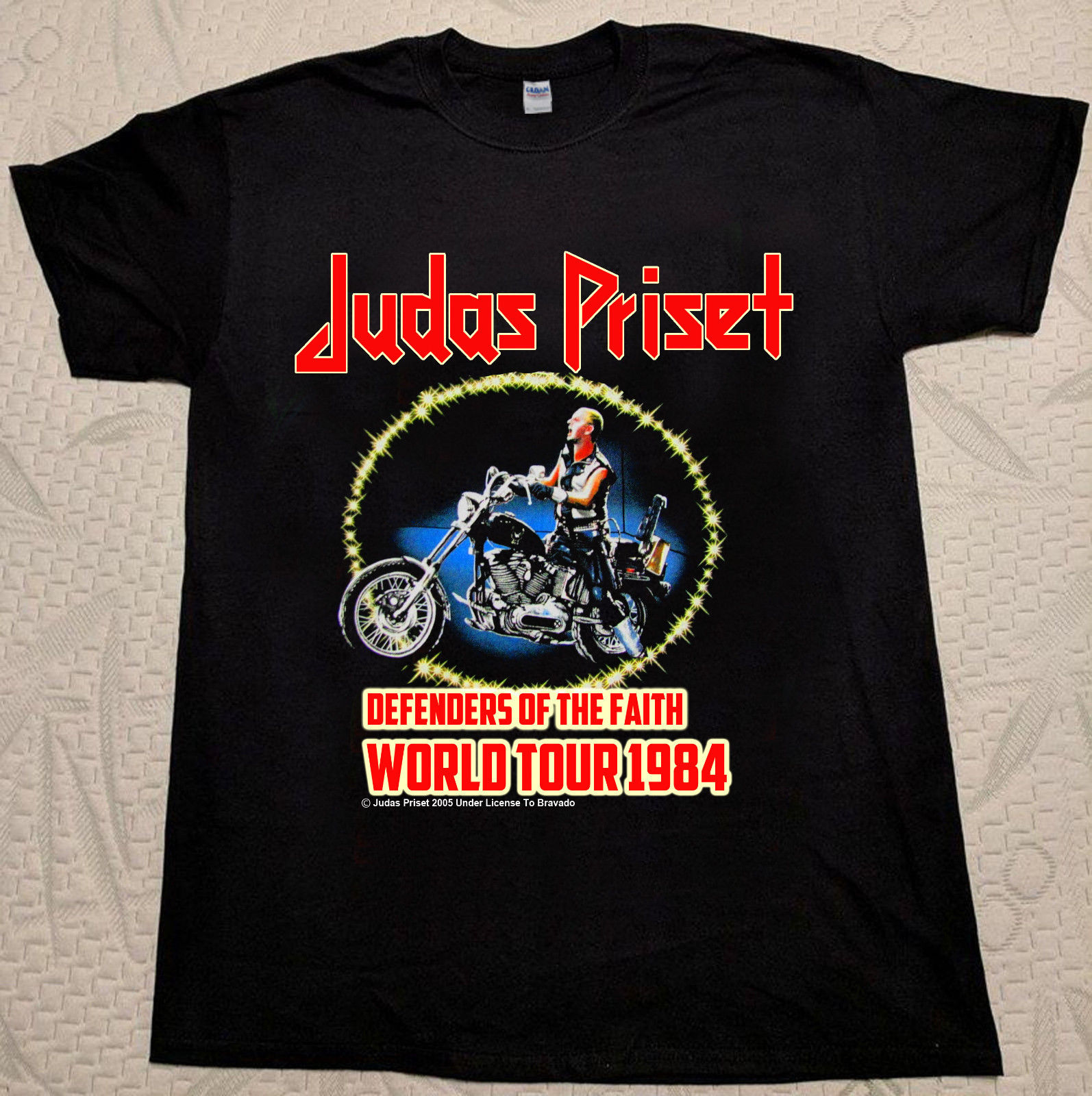 T-Shirt concert Judas Priest World Tour 1984 We're back kicking Ass Rock&Roll T Shirt Men Short Sleeve Funny image