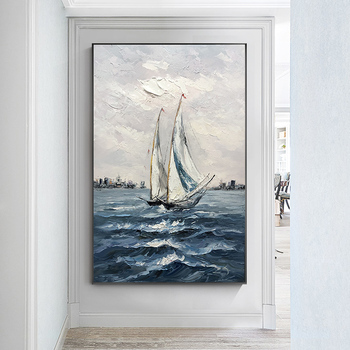 Pure hand-painted Oil Painting Decorative Painting Vertical Version Entrance Office Study Landscape Mural Paintings Smooth Saili