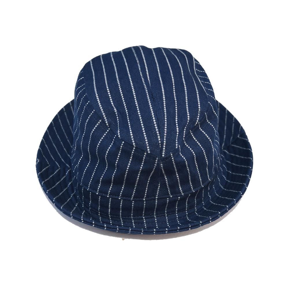 BOB DONG Vintage Wabash Stripes Indigo Bucket Hats Workwear Railroad Caps Unisex