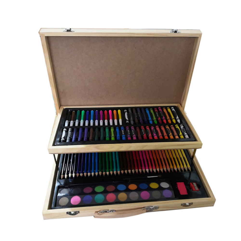 108 Pcs School Crayon Brush Wooden Box Portable Art Painting Set Birthday Gift Drawing Children Office Color Pencils Student