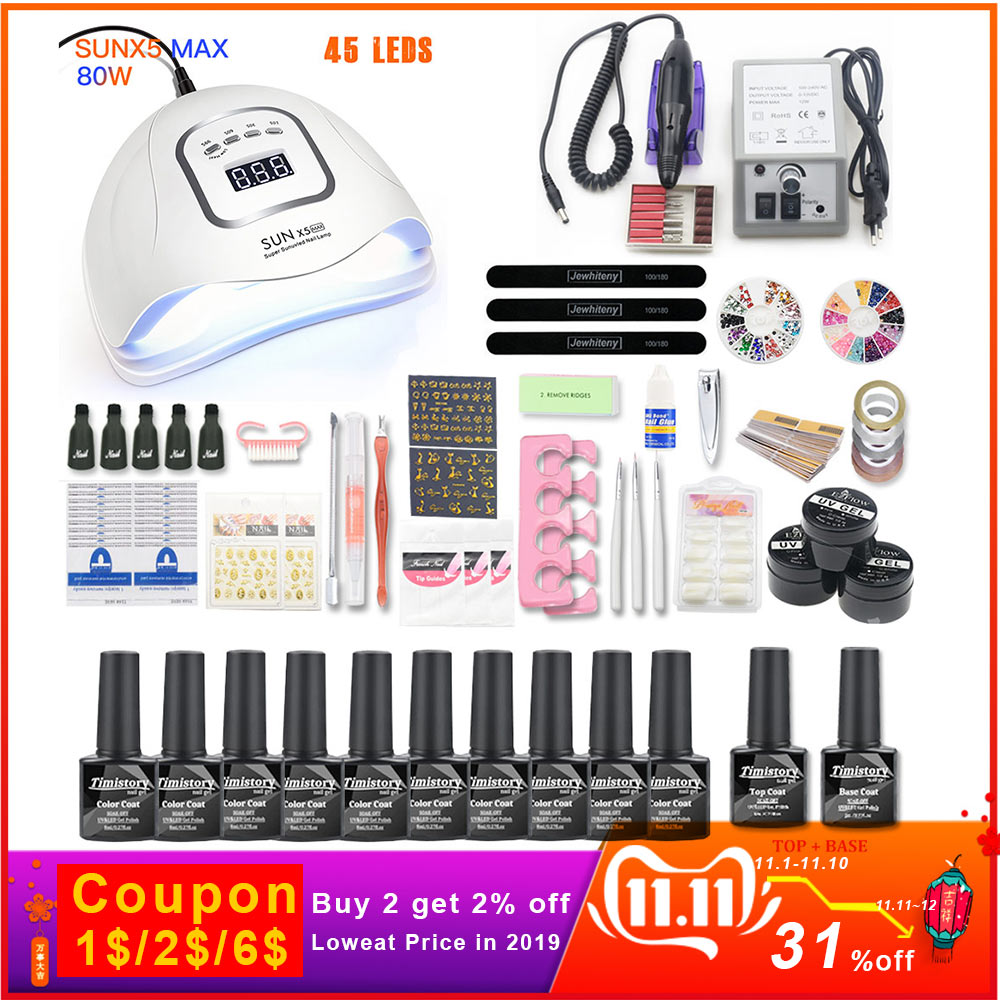 Net Set 10pcs Nail Gel Polish Kit UV LED Nail Lamp 20000rpm Nail Art Manicure Tools For Manicure Nail Art Sets Nail Polish Gel