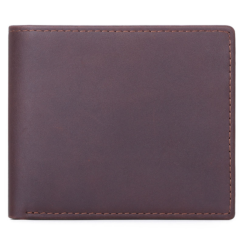 MISFITS NEW Genuine Leather Mens Wallets Crazy Horse Leather Men Wallet Coin Pocket and Card Holder High Quality Purses for Male Men Men's Bags Men's Wallets Color: Coffee