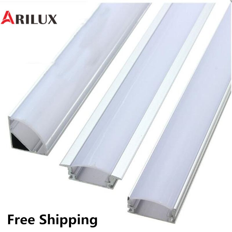 ARILUX 1X 5X 10X V U YW 1.8cm Wide Three Style 50cm Aluminium Channel Holder For LED Strip Light Bar Under Cabinet Lamp Kitchen