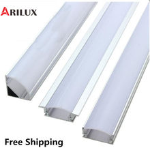 ARILUX 1X 5X 10X V U YW 1.8cm Wide Three Style 50cm Aluminium Channel Holder for LED Strip Light Bar Under Cabinet Lamp Kitchen(China)