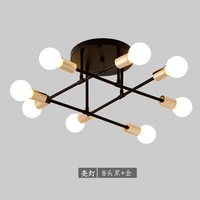 Multiple Rod Wrought Iron Ceiling Light Retro Industrial Loft Nordic Dome Lamp for Home Decor Dinning Cafe Bar Ceiling Lights    -