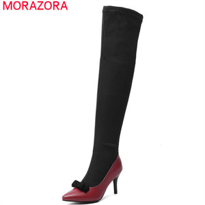 Image 1 - MORAZORA 2020 big size 48 women over the knee boots pointed toe autumn winter high heels party prom shoes women long  boots