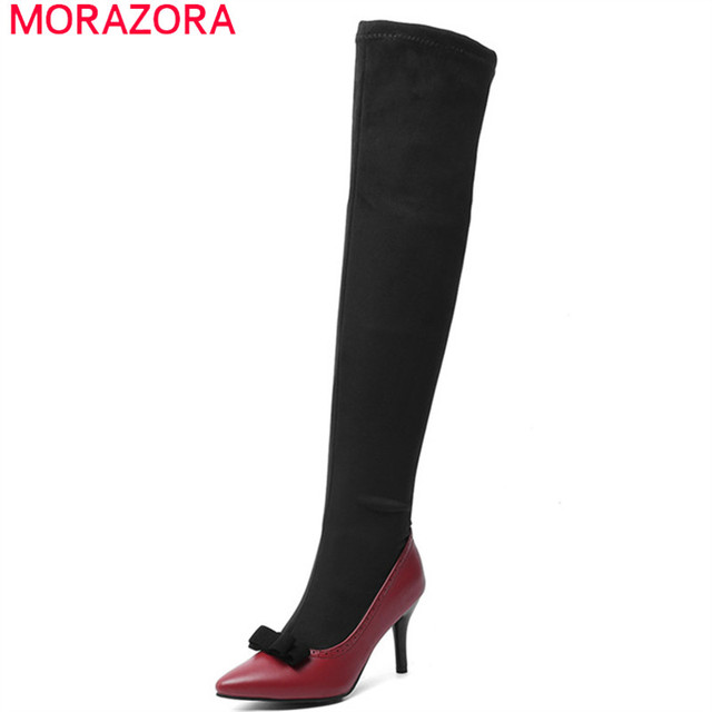 MORAZORA 2020 big size 48 women over the knee boots pointed toe autumn winter high heels party prom shoes women long  boots