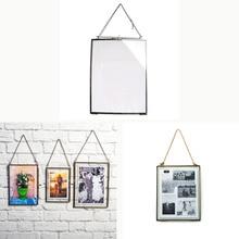 1 pieza Estilo Vintage rectángulo negro antiguo vidrio de doble cara foto para colgar en la pared marco de fotos decoración del hogar ARTE DE REGALO DIY