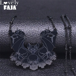 2021 Fashion Gothic Vampire Bat Skull Stainless Steel Necklaces Women Black Color Chain Necklace Jewelry bijoux femme N4222S03