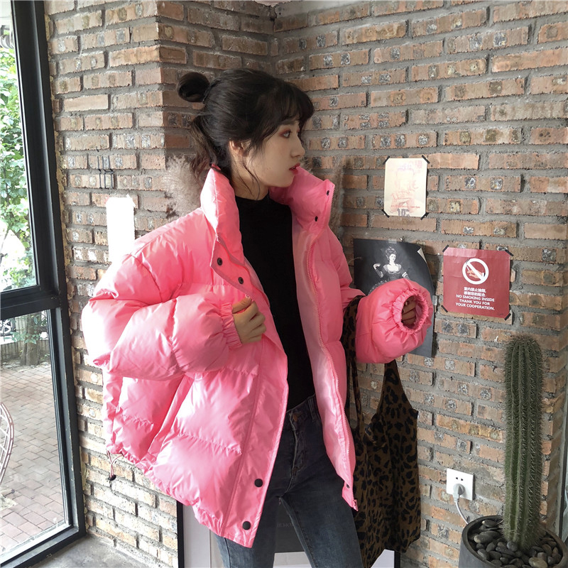 Bright Colors Winter Jacket Women Parka Warm Thick Solid Short Style Cotton Padded Parkas Coat Loose Stand Collar Outwear - 6