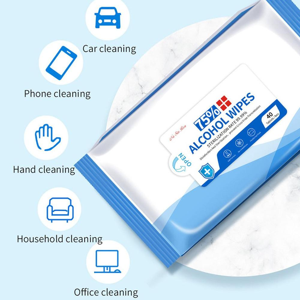 2020 HOT  75% Alcohol Wipes Gentle And Non-Irritating Disinfection And Sterilization For Skin And Object Surface 40 Pcs/Bag