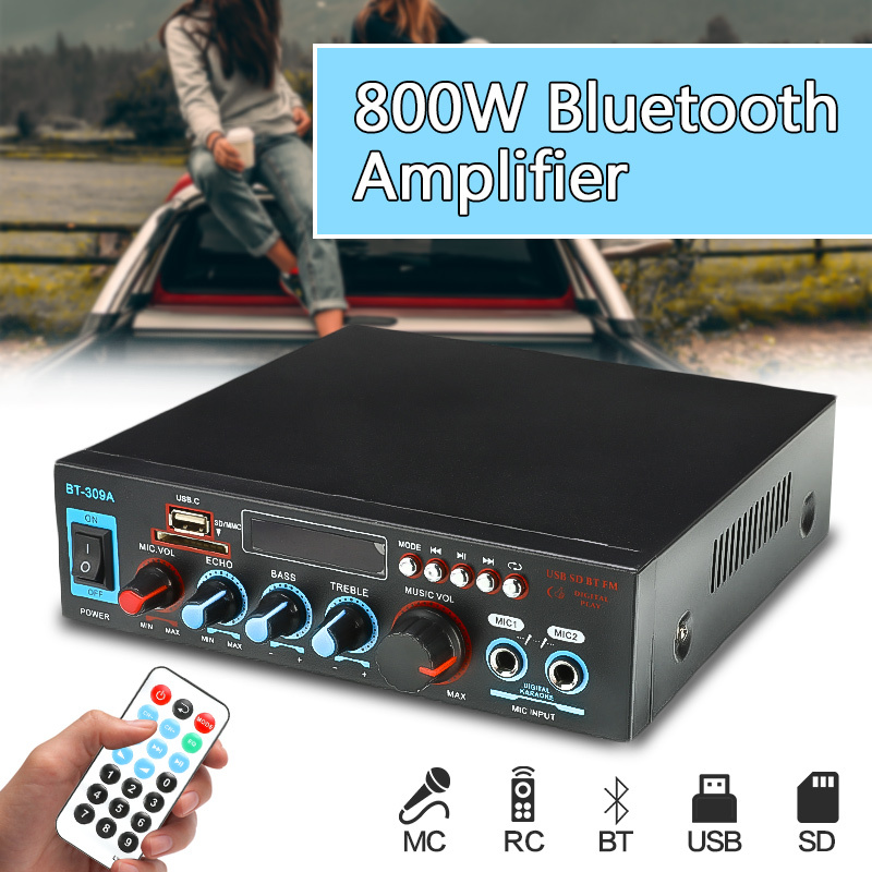 <font><b>HIFI</b></font> <font><b>800W</b></font> Audio Power <font><b>Amplifier</b></font> 12/220V Home Theater <font><b>Amplifiers</b></font> Audio with Remote Control Support SD Card FM USB Bluetooth image