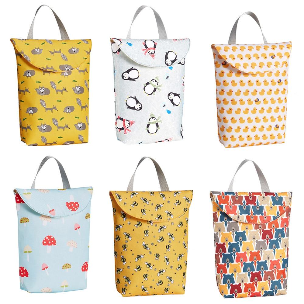 Multifunctional Baby Nappy Storage Bag  Diaper Caddy Organizer Reusable Waterproof Prints Wet Dry Bag